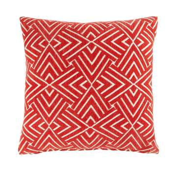 Red Cushion with White Graphic Motifs (H45 x W45cm)