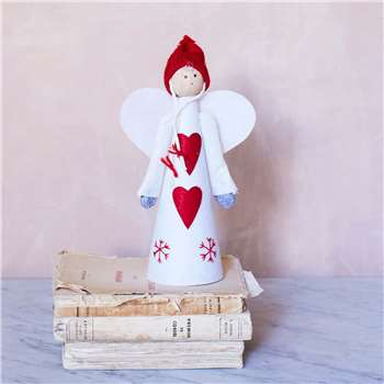Red Felt Angel Tree Topper (Height 25cm)