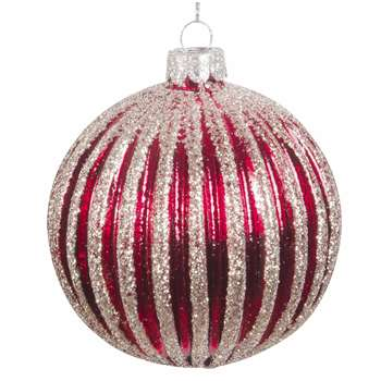 Red Tinted Glass Christmas Bauble with Textured Silver Detailing (H8 x W8 x D8cm)