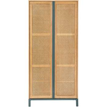 Reema Double Wardrobe, Natural Oak and Cane (192 x 90cm)