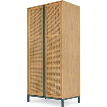 Reema Double Wardrobe, Oak & Teal (H192 x W90 x D58cm)