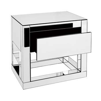 Reflect mirrored bedside table (H50 x W55 x D40cm)