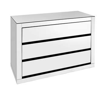 Reflect mirrored wide chest of drawers (H70 x W100 x D45cm)