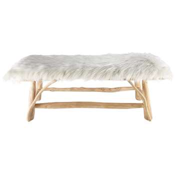 REFUGE white faux fur and teak bench (46 x 121cm)