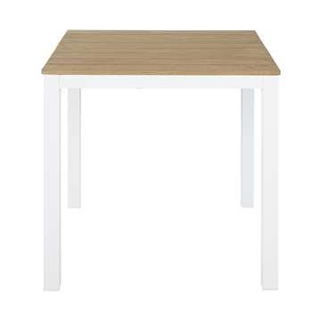 REGATE PRO Professional White Metal and Teak Garden Table, White (H75.5 x W74.5 x D74.5cm)