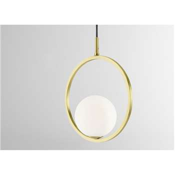 Remi  Pendant Lamp, Brush Brass and Opal White Glass (H134 x W25 x D12cm)
