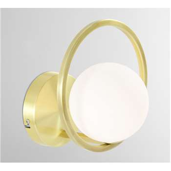 Remi  Wall Lamp, Brush Brass and Opal White Glass (H22 x W19 x D20cm)