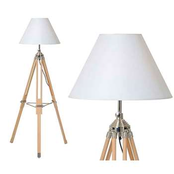 Remy Tripod Floor Lamp with Natural Wood-finished Legs (165 x 80cm)