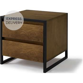 Rena 2 Drawer Bedside table, Mango Wood & Black (H56 x W34 x D34cm)