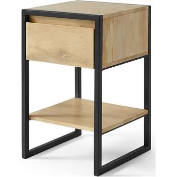 Rena Bedside Table, Light Mango Wood and Black Metal (H56 x W34 x D34cm)