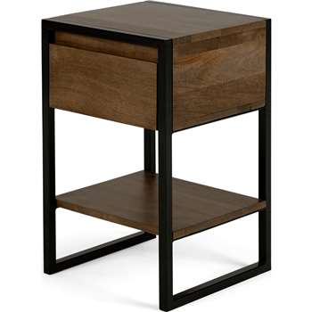 Rena Bedside Table, Mango Wood and Black Metal (H56 x W34 x D34cm)