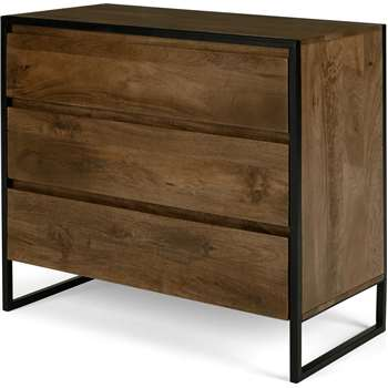 Rena Chest of Drawers, Mango Wood and Black Metal (H80 x W90 x D44cm)