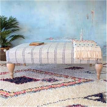 Renée Linen Stripe Ottoman (39 x 121cm)