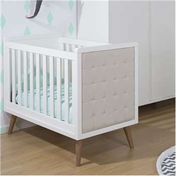 Retro Rio Upholstered Baby Cot in White (98 x 129cm)