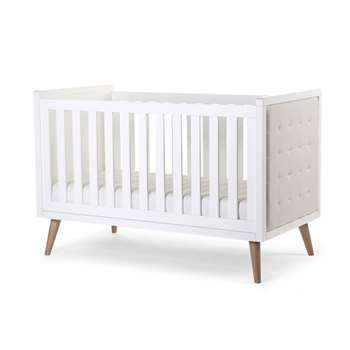 Retro Rio Upholstered Baby & Toddler Cot Bed in White (98 x 149cm)