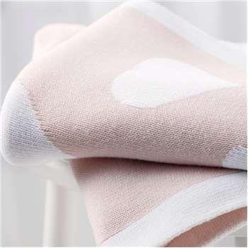 Reversible Heart Baby Blanket, Baby Pink (75 x 100cm)