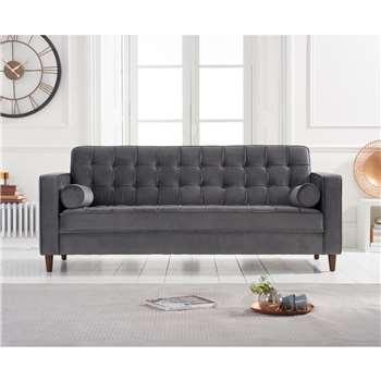 Rhine Grey Velvet 3 Seater Sofa (H76 x W205 x D84cm)
