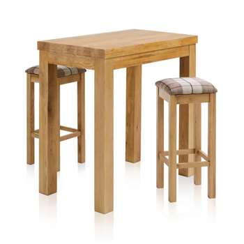 "Rhodes Natural Solid Oak 3ft 3"" Breakfast Table with 2 Bar Stools, Check Brown (H100 x W100 x D60cm)"