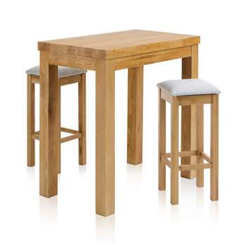 "Rhodes Natural Solid Oak 3ft 3"" Breakfast Table with 2 Bar Stools, Plain Grey (H100 x W100 x D60cm)"