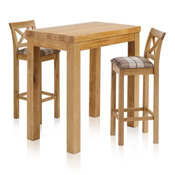 Rhodes Natural Solid Oak 3ft 3 inches Breakfast Table with 2 Bar Stools, Cross Back Check Brown (H100 x W100 x D60cm)