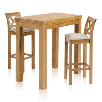 Rhodes Natural Solid Oak 3ft 3 inches Breakfast Table with 2 Bar Stools, Cross Back Plain Beige (H100 x W100 x D60cm)