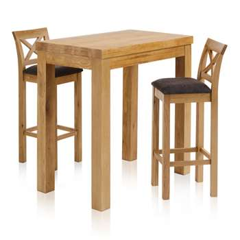 Rhodes Natural Solid Oak 3ft 3 inches Breakfast Table with 2 Bar Stools, Cross Back Plain Charcoal (H100 x W100 x D60cm)