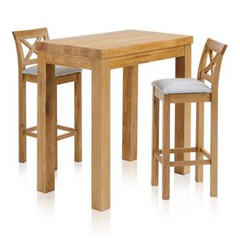 Rhodes Natural Solid Oak 3ft 3 inches Breakfast Table with 2 Bar Stools, Cross Back Plain Grey (H100 x W100 x D60cm)