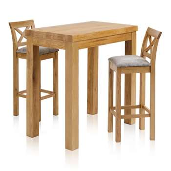 Rhodes Natural Solid Oak 3ft 3 inches Breakfast Table with 2 Bar Stools, Cross Back Plain Truffle (H100 x W100 x D60cm)