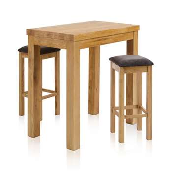 Rhodes Natural Solid Oak 3ft 3 inches Breakfast Table with 2 Bar Stools, Square Plain Charcoal (H100 x W100 x D60cm)