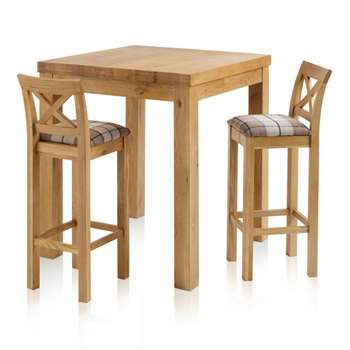 Rhodes Natural Solid Oak 3ft Breakfast Table with 2 Bar Stools, Cross Back Check Brown (H100 x W90 x D90cm)