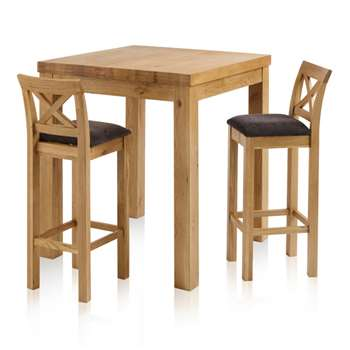 Rhodes Natural Solid Oak 3ft Breakfast Table with 2 Bar Stools, Cross Back Plain Charcoal (H100 x W90 x D90cm)