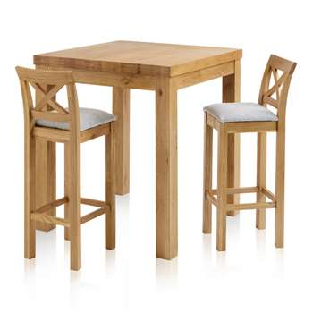 Rhodes Natural Solid Oak 3ft Breakfast Table with 2 Bar Stools, Cross Back Plain Grey (H100 x W90 x D90cm)