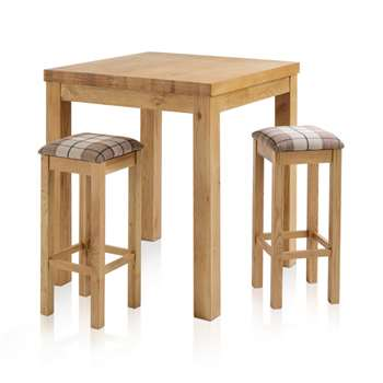 Rhodes Natural Solid Oak 3ft Breakfast Table with 2 Bar Stools, Square Check Brown (H100 x W90 x D90cm)