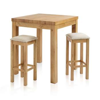 Rhodes Natural Solid Oak 3ft Breakfast Table with 2 Bar Stools, Square Plain Beige (H100 x W90 x D90cm)