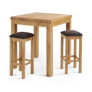 Rhodes Natural Solid Oak 3ft Breakfast Table with 2 Bar Stools, Square Plain Charcoal (H100 x W90 x D90cm)