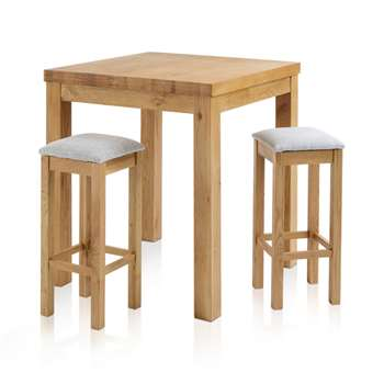 Rhodes Natural Solid Oak 3ft Breakfast Table with 2 Bar Stools, Square Plain Grey (H100 x W90 x D90cm)