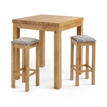 Rhodes Natural Solid Oak 3ft Breakfast Table with 2 Bar Stools, Square Plain Truffle (H100 x W90 x D90cm)