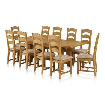 Rhodes Natural Solid Oak Dining Set - 9ft Extending Dining Table (H76.1 x W180 x D90cm)