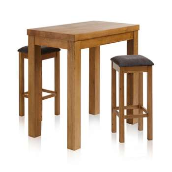 "Rhodes Rustic Solid Oak 3ft 3"" Breakfast Table with 2 Bar Stools, Charcoal (H100 x W100 x D60cm)"