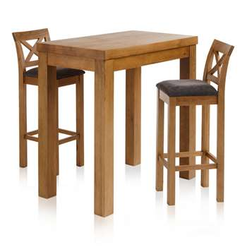 "Rhodes Rustic Solid Oak 3ft 3"" Breakfast Table with 2 Bar Stools, Cross Back Charcoal (H100 x W100 x D60cm)"
