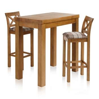"Rhodes Rustic Solid Oak 3ft 3"" Breakfast Table with 2 Bar Stools, Cross Back Check Brown (H100 x W100 x D60cm)"