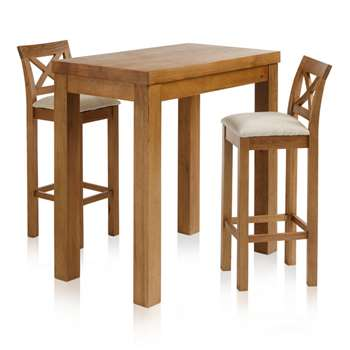 "Rhodes Rustic Solid Oak 3ft 3"" Breakfast Table with 2 Bar Stools, Cross Back Plain Beige (H100 x W100 x D60cm)"