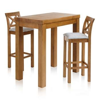 "Rhodes Rustic Solid Oak 3ft 3"" Breakfast Table with 2 Bar Stools, Cross Back Plain Grey (H100 x W100 x D60cm)"