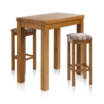 Rhodes Rustic Solid Oak 3ft 3 inches Breakfast Table with 2 Bar Stools, Checked Brown (H100 x W100 x D60cm)