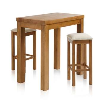 Rhodes Rustic Solid Oak 3ft 3 inches Breakfast Table with 2 Bar Stools, Plain Beige (H100 x W100 x D60cm)