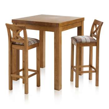 Rhodes Rustic Solid Oak 3ft Breakfast Table with 2 Bar Stools, Cross Back Check Brown (H100 x W90 x D90cm)