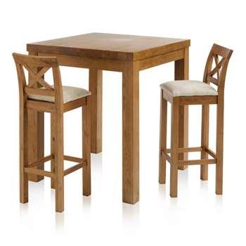 Rhodes Rustic Solid Oak 3ft Breakfast Table with 2 Bar Stools, Cross Back Plain Beige (H100 x W90 x D90cm)