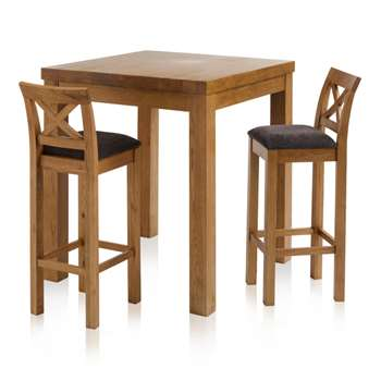 Rhodes Rustic Solid Oak 3ft Breakfast Table with 2 Bar Stools, Cross Back Plain Charcoal (H100 x W90 x D90cm)