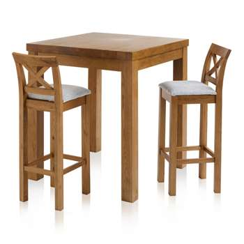 Rhodes Rustic Solid Oak 3ft Breakfast Table with 2 Bar Stools, Cross Back Plain Grey (H100 x W90 x D90cm)