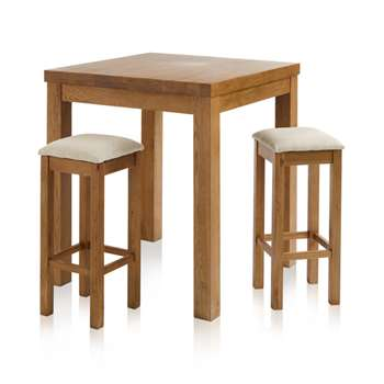 Rhodes Rustic Solid Oak 3ft Breakfast Table with 2 Bar Stools, Plain Beige (H100 x W90 x D90cm)